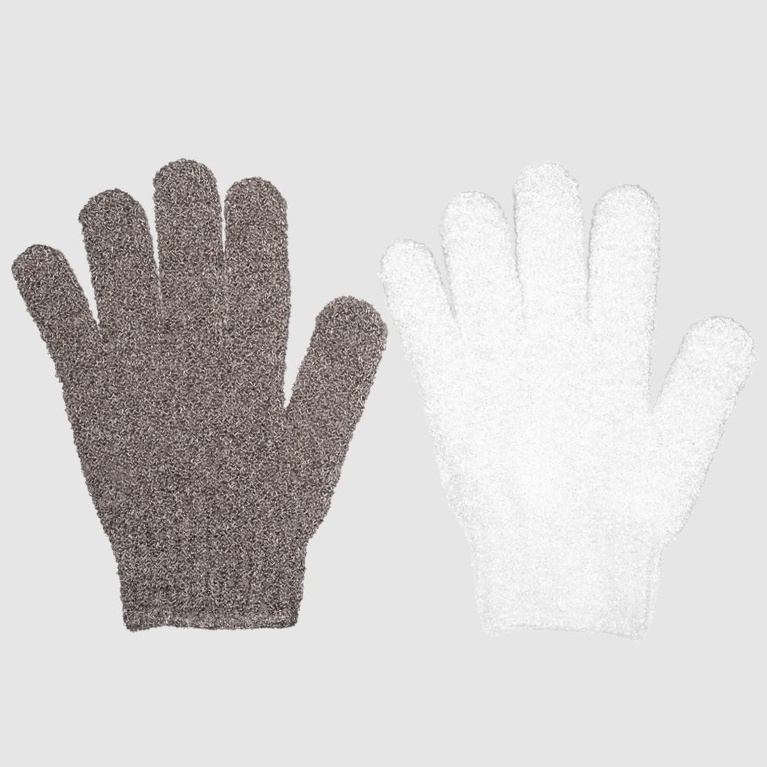Lot de 2 gants massant & exfoliant doux